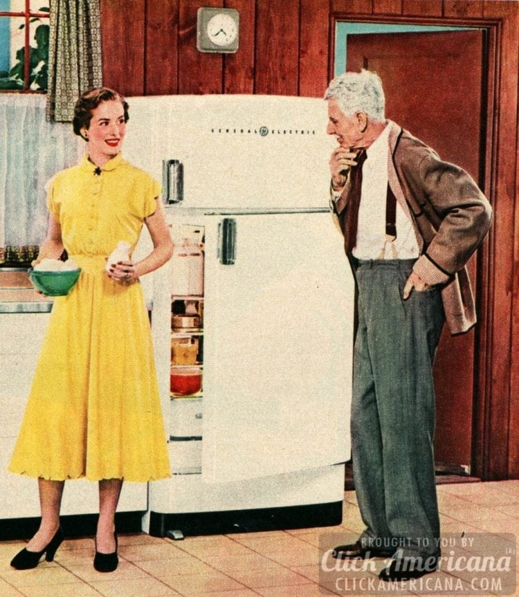 Someone's not sure about the new fridge (1950)