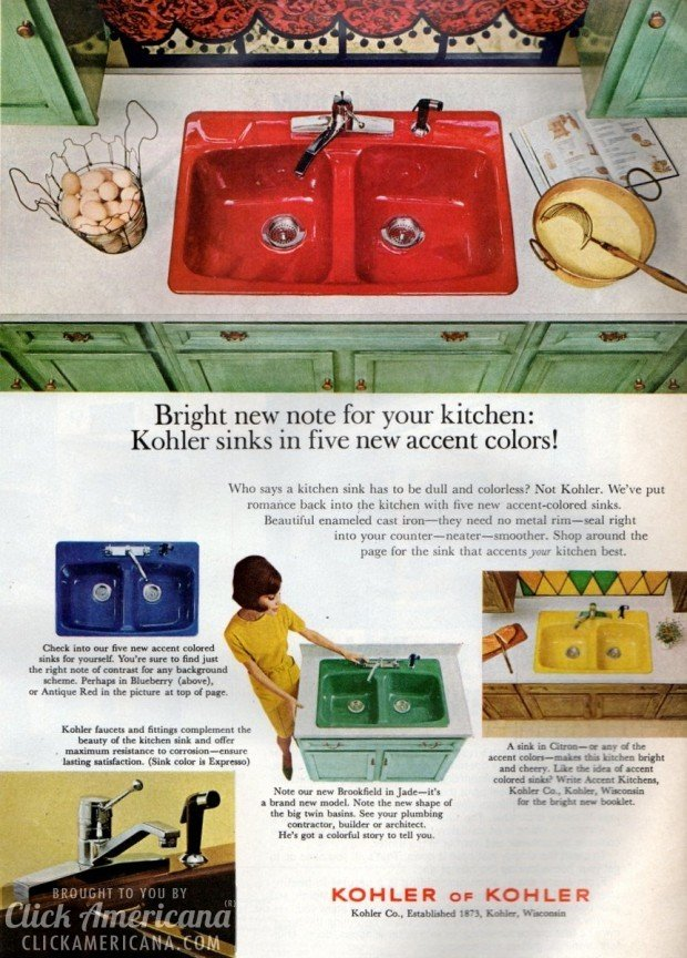 Bold Amp Brightly Colored Kitchen Sinks 60s Amp 70s