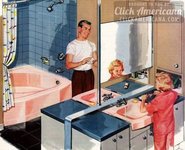 Retro 50s home decor - bathroom that features pink and blue