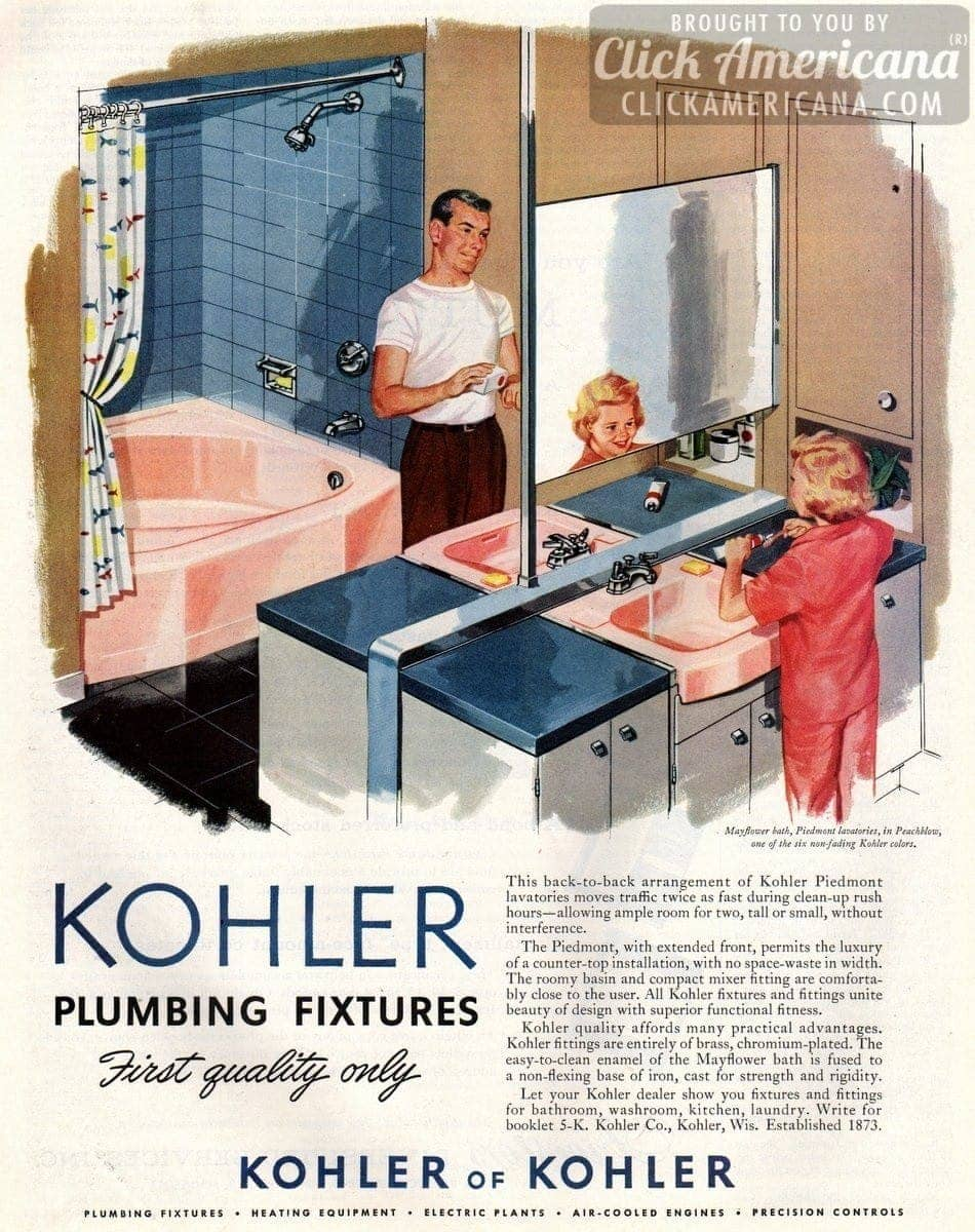 Kohler bathroom plumbing fixtures in Peachblow pink (1957)