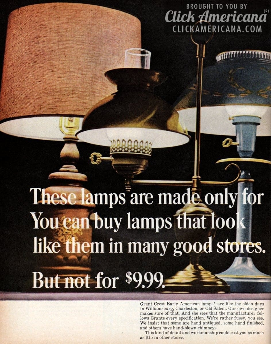 Early American lamp styles from Grants (1965)