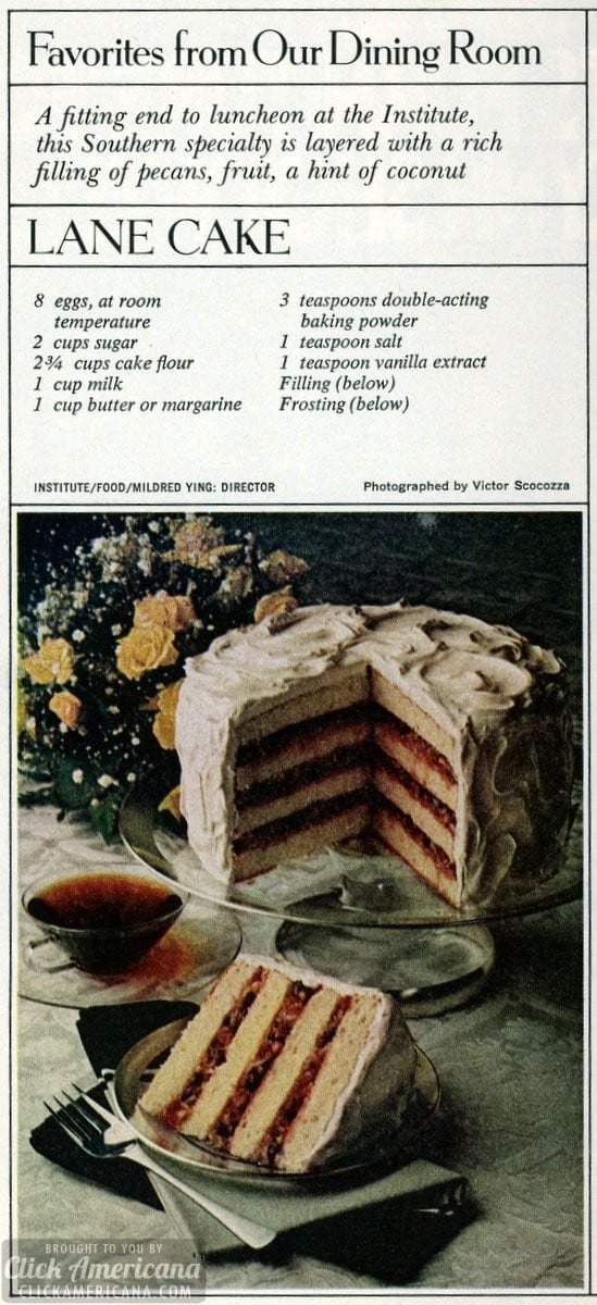Southern specialty: Lane cake recipe (1978)