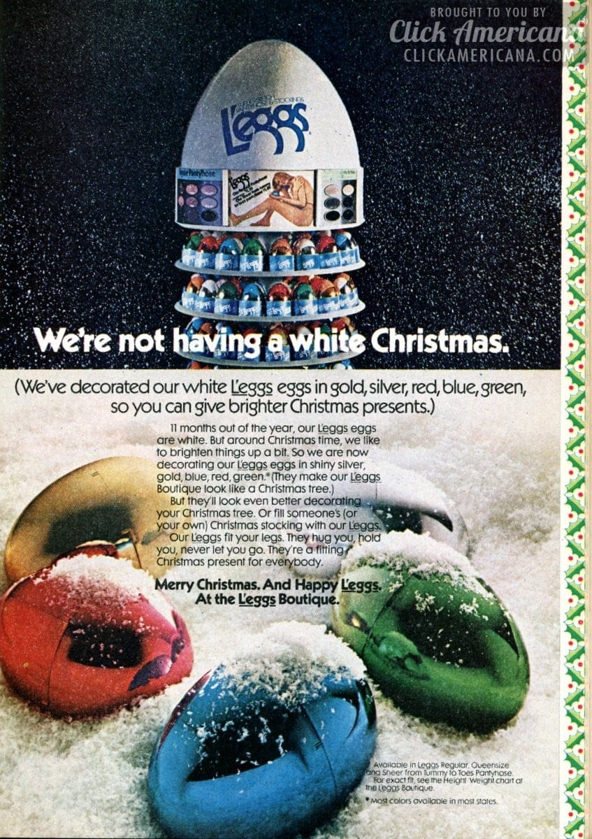 L'eggs eggs in gold, silver, red, blue, green for Christmas (1973)