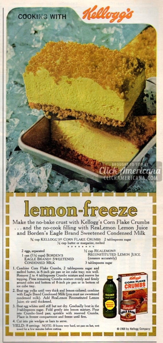 No-Bake Lemon Freeze dessert recipe (1968)