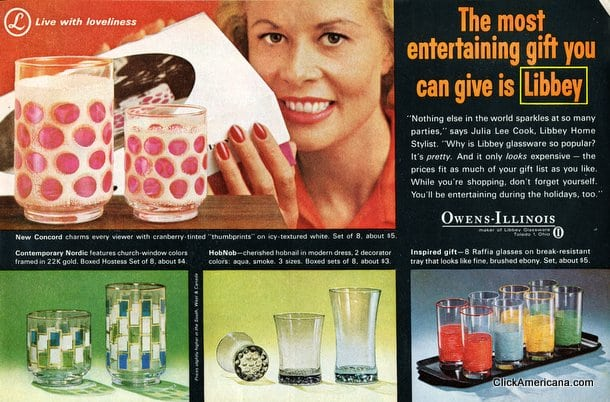 26 Libbey drinking glass designs from the sixties