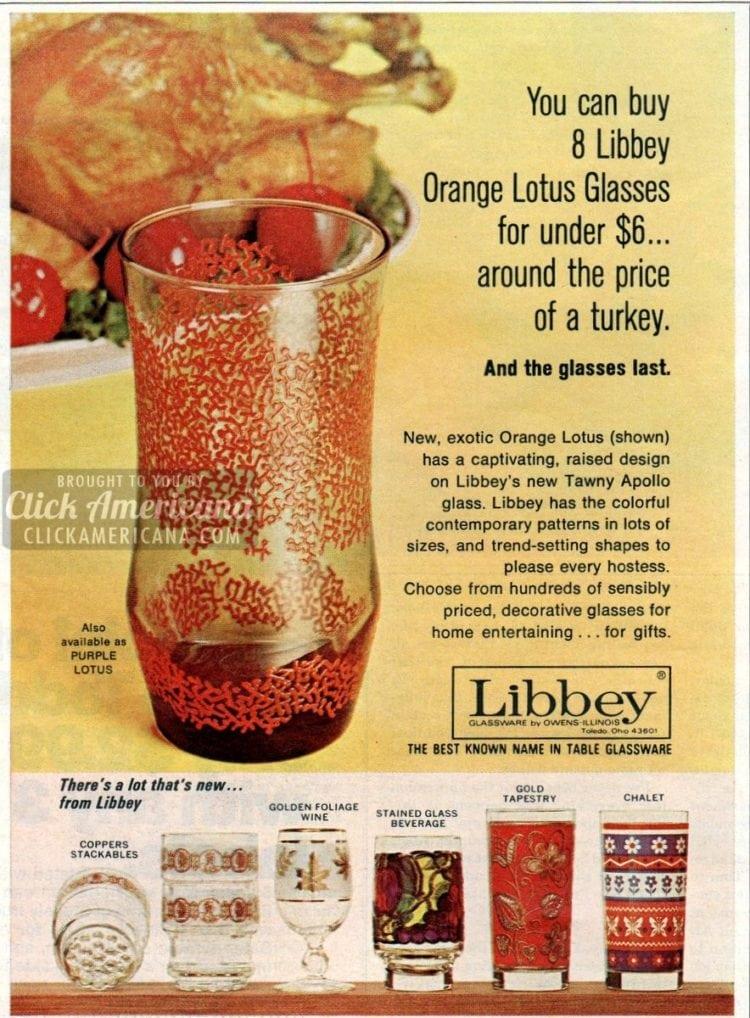 Libbey Orange Lotus glasses