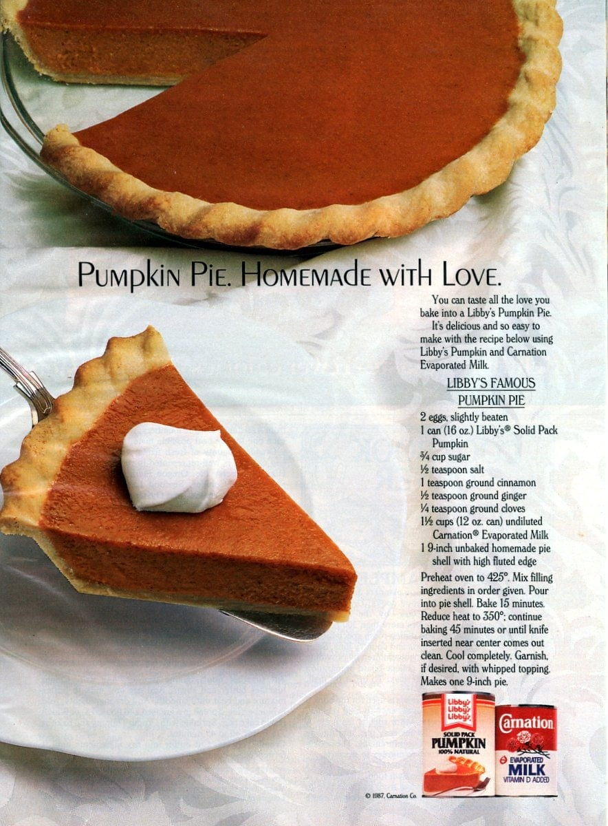 Libby's famous pumpkin pie recipe (1987)