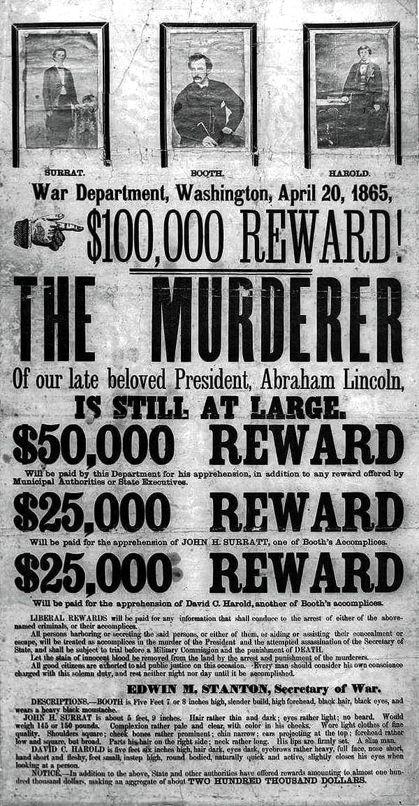 $100,000 reward for apprehension of Lincoln's murderer (1865)