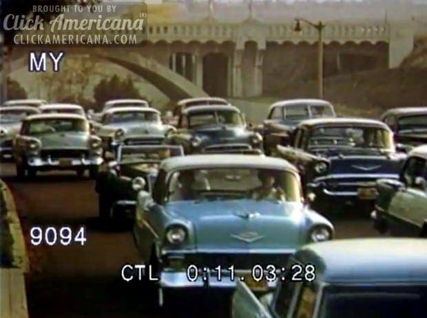 Cars California Freeway Traffic 1950s Click Americana