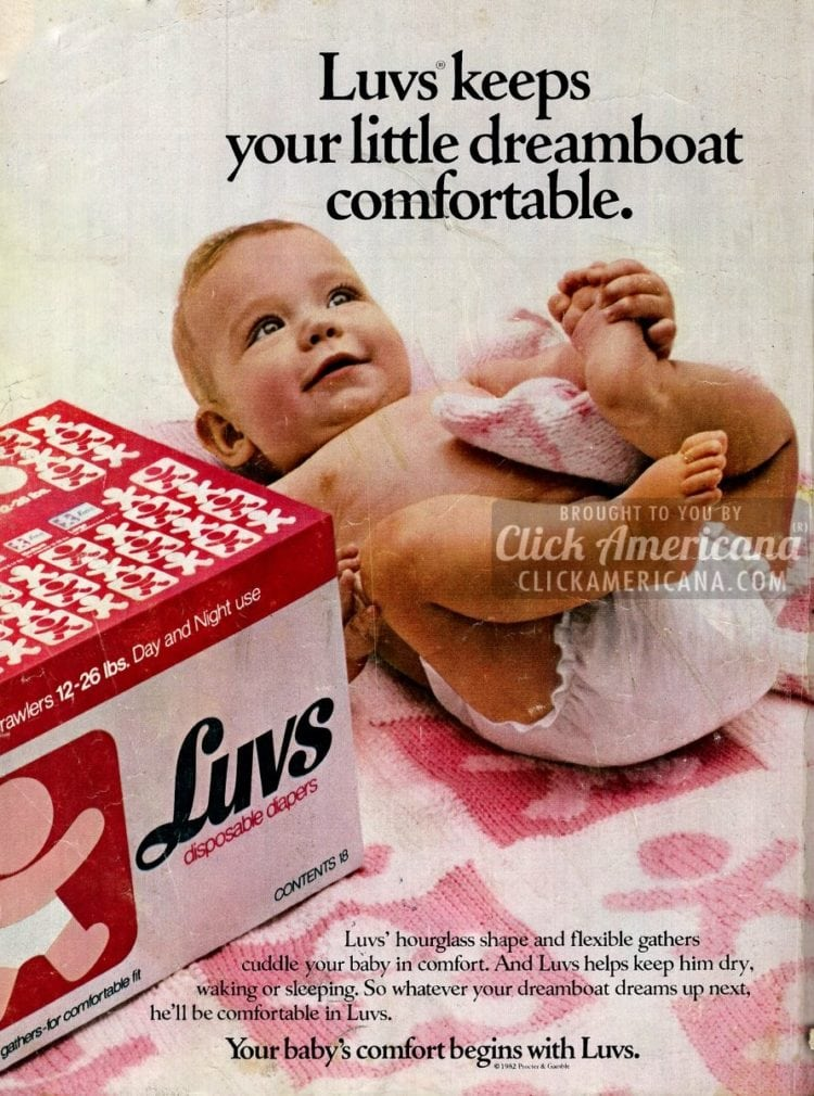 Luvs keeps your little dreamboat comfortable. (1982)