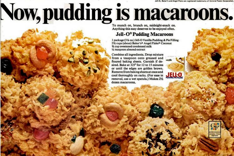 macaroon recipe Nov 1968 jello pudding