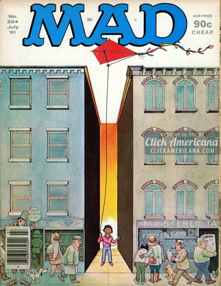 MAD magazine cover from July 1981: Kite