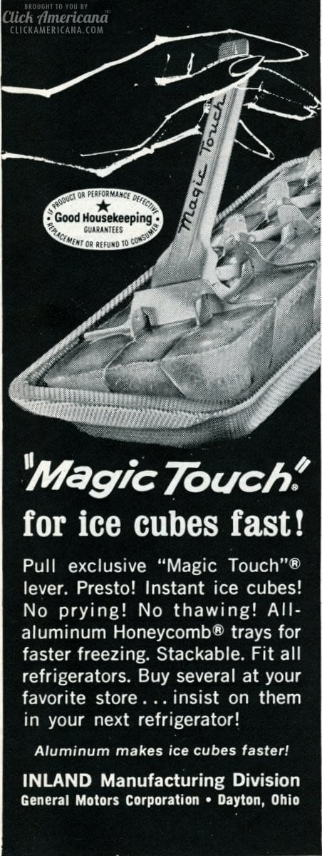 Magic-Touch for ice cubes fast viuntage ad from 1965