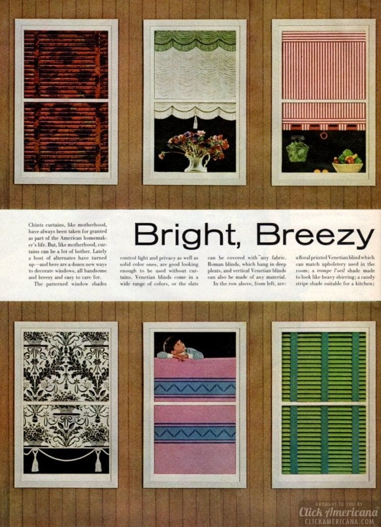 Bright, breezy easy window shades from 1963