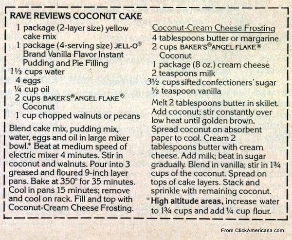 Rave reviews coconut cake recipe (1978) - Click Americana