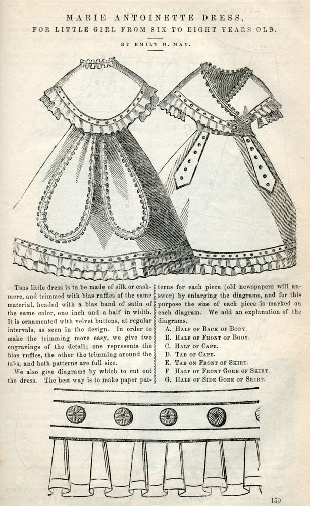 Marie Antoinette Dress Sewing Pattern 1869 Click Americana