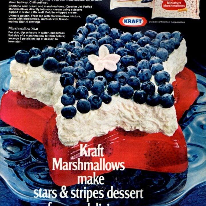 Red white and blue stars & stripes dessert (1972)