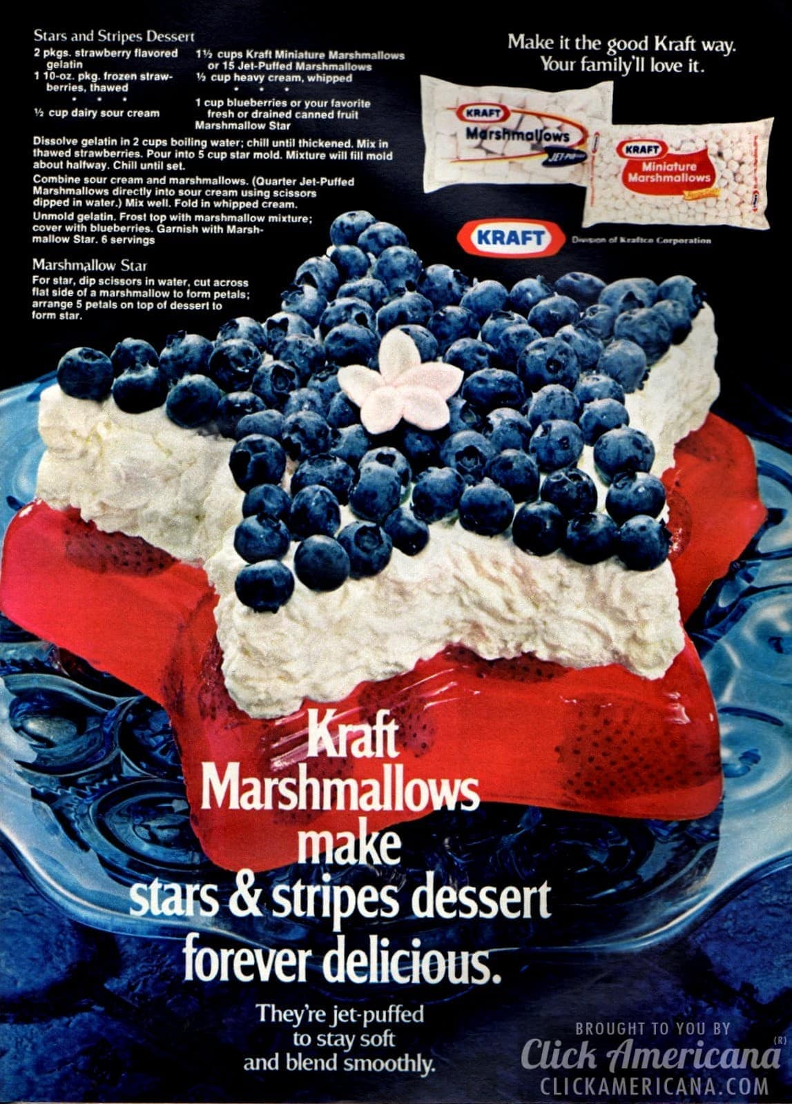 Stars & stripes dessert, with gelatin & marshmallows (1972)