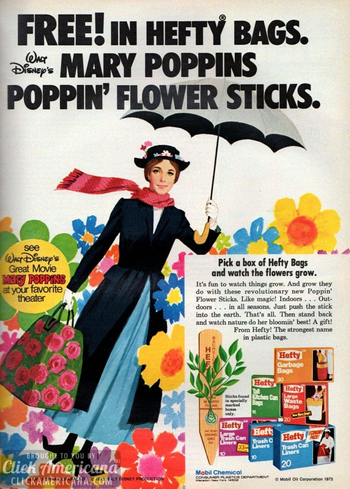 Walt Disneys Mary Poppins Poppin Flower Sticks 1973