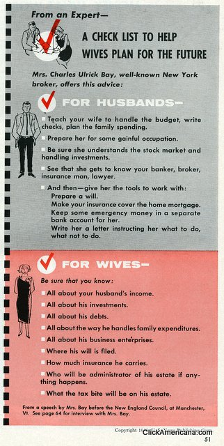 A checklist to help wives plan for the future (1958)