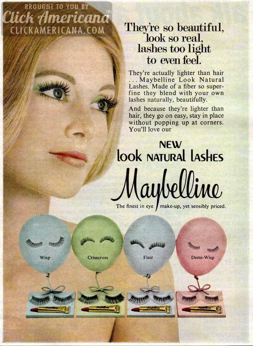 False beauty: New eyelashes by Maybelline (1967 & 1972)