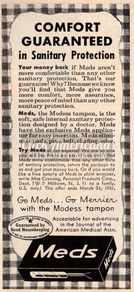Bad vintage product names: Meds tampons