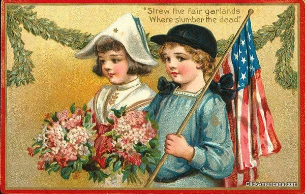 Memorial Day garlands for the fallen vintage postcard