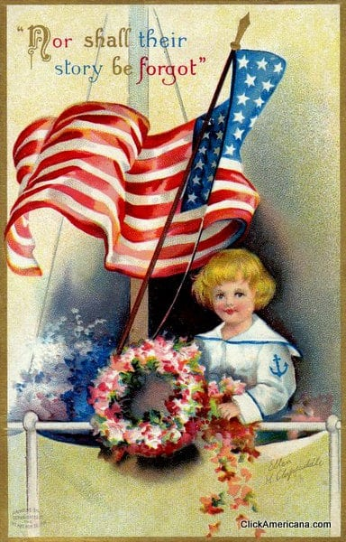 Never forgotten - Vintage Memorial Day postcard