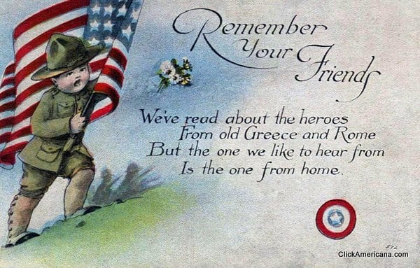 Remember your friends - Vintage Memorial Day postcard