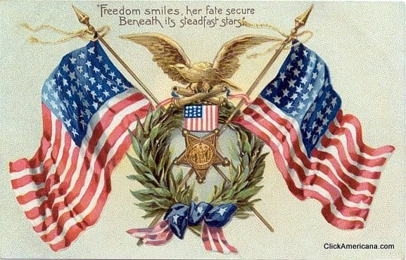 Freedom smiles, her fate secure, beneath its steadfast stars - Vintage Memorial Day postcard