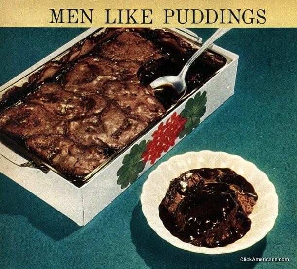 Men like puddings: Fudge batter pudding recipe (1950)