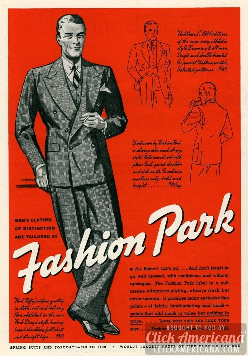 Men's clothes of distinction: Fashion Park suits (1936)