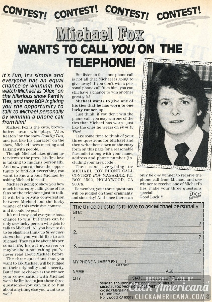 Win a phone call from Family Ties actor Michael J Fox (1984)