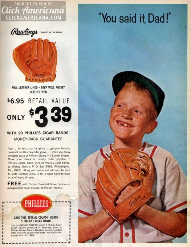 Mickey Mantle Father Amp Son Baseball Glove Offer 1964