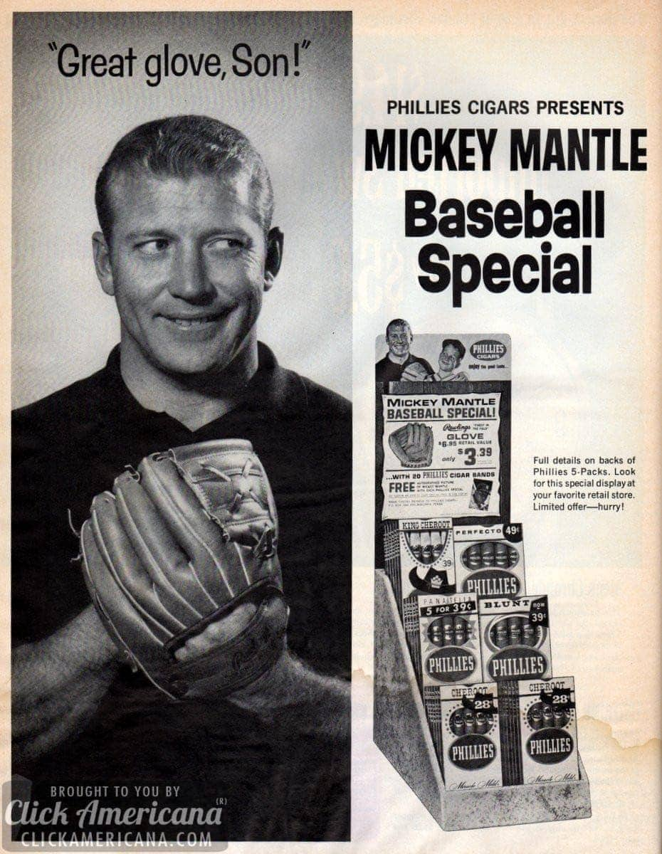 Mickey Mantle father & son baseball glove offer (1964)
