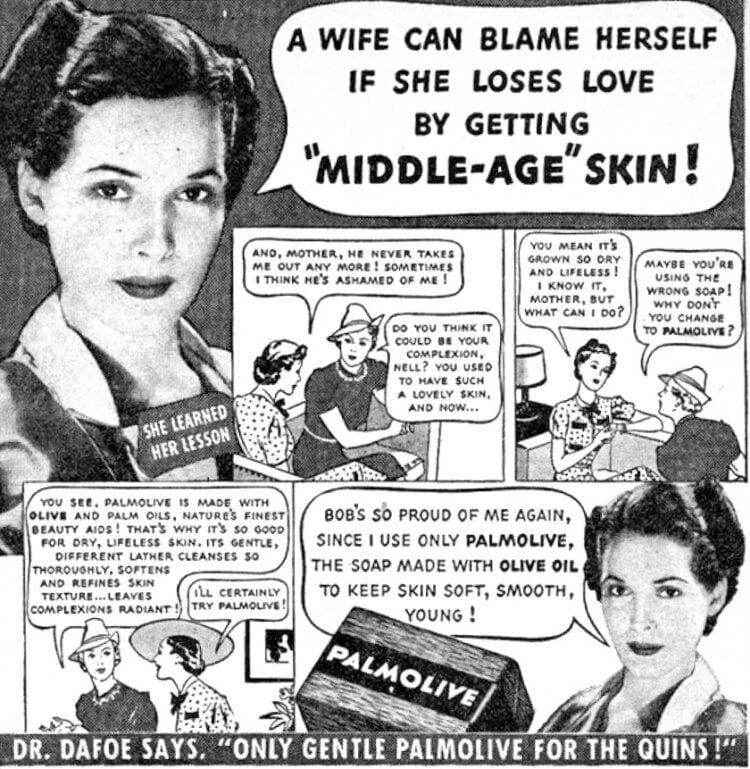 middle age skin palmolive vintage ad 1940s