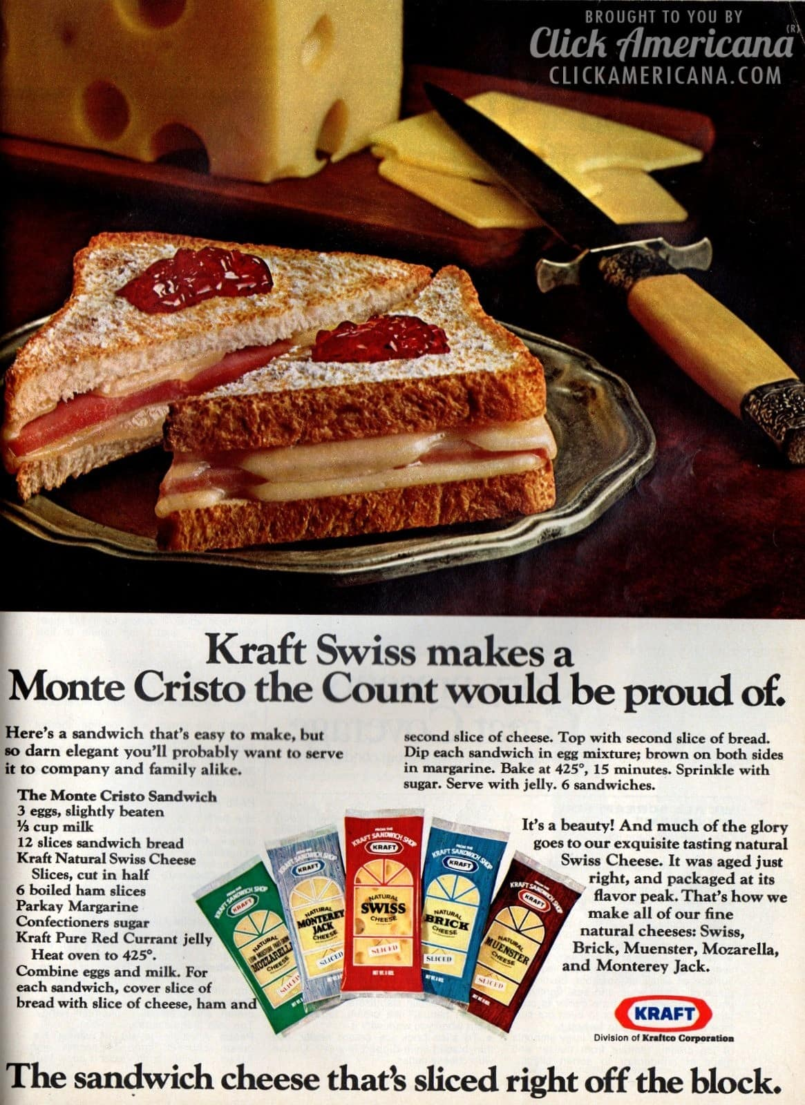 Ham & cheesy Monte Cristo Sandwich recipe (1974)