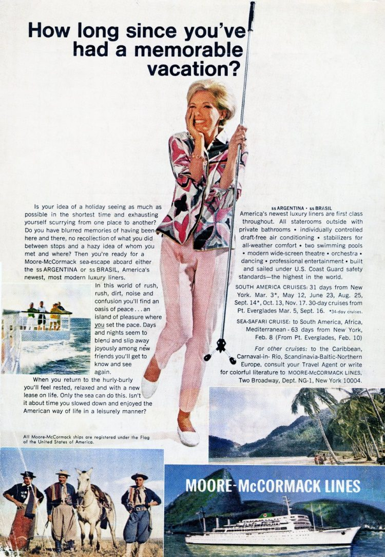 moore-mccormack retro cruise lines to south america 1967