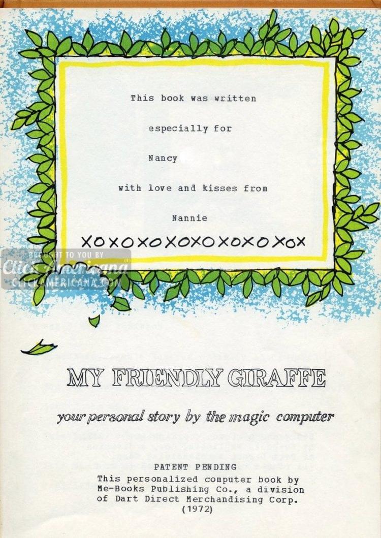 My Friendly Giraffe: A Me-Book