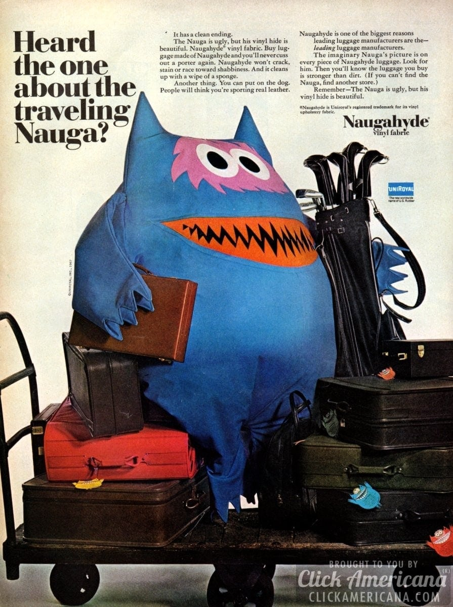 Naugahyde: Vinyl faux leather for your luggage (1967)