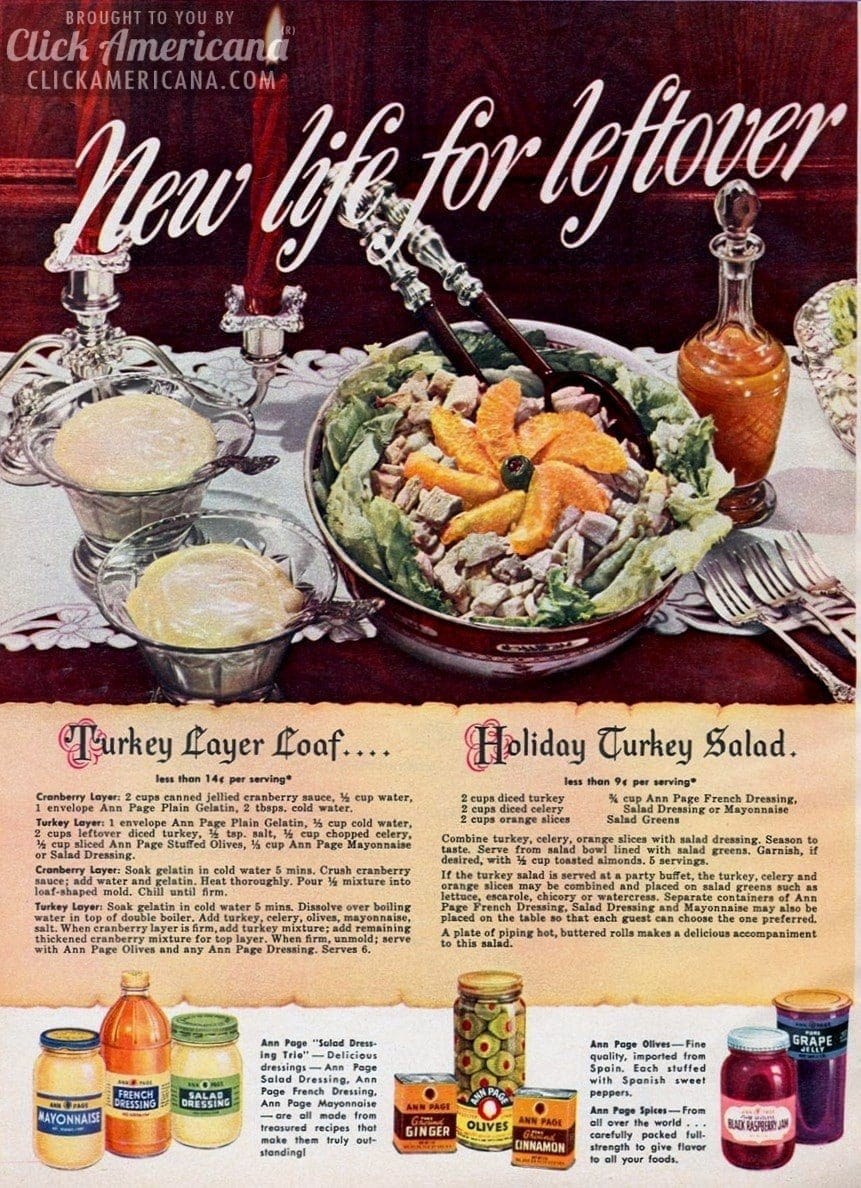 Thanksgiving leftovers? Try a turkey-cranberry layer loaf & this turkey salad (1948)