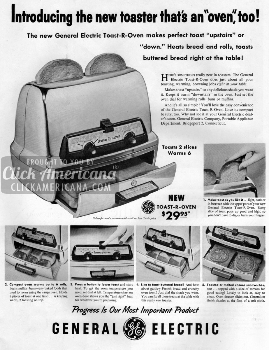 Introducing the new toaster that's an oven too! (1957)