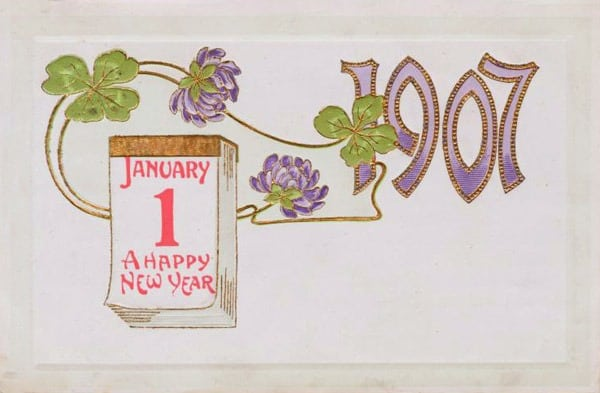 Happy new year - vintage postcard