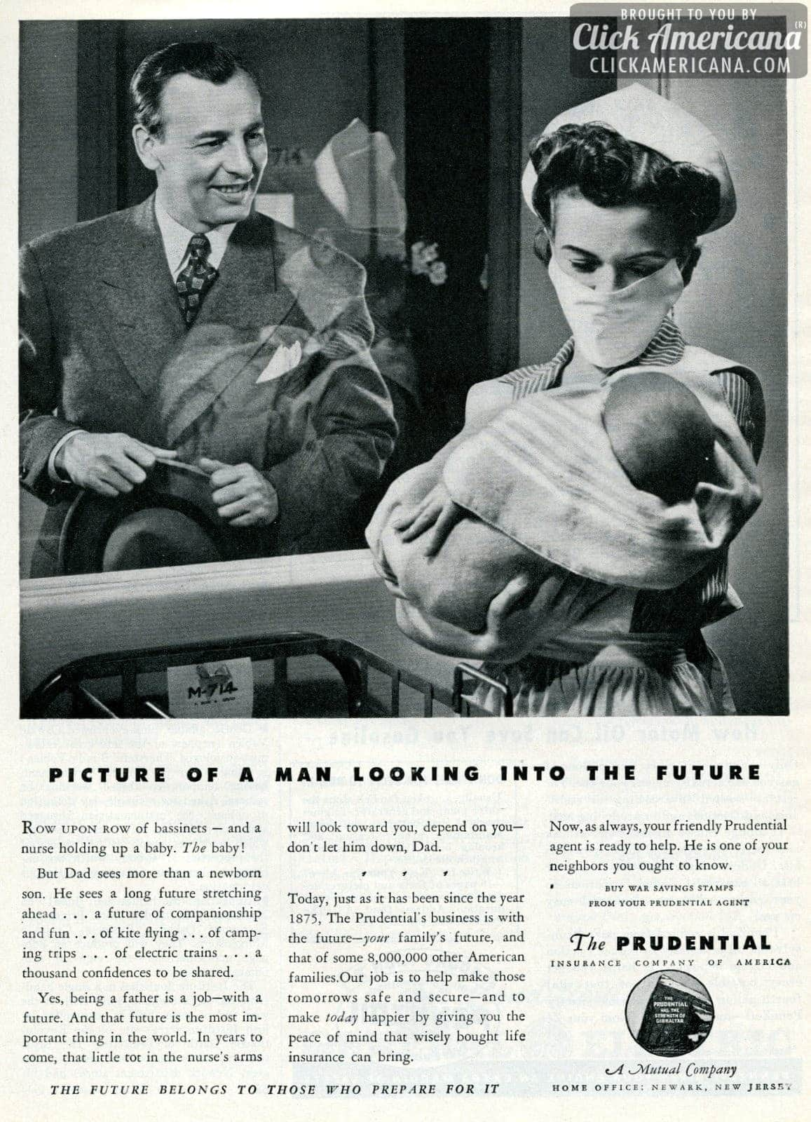 Rows of bassis and a nurse holding up a baby 1943