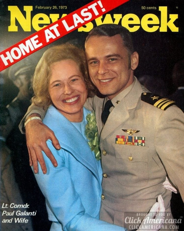 Home at last! Prisoner of War Lt Commander Paul Galanti & his wife on the cover ofNewsweek, 02-26-1973