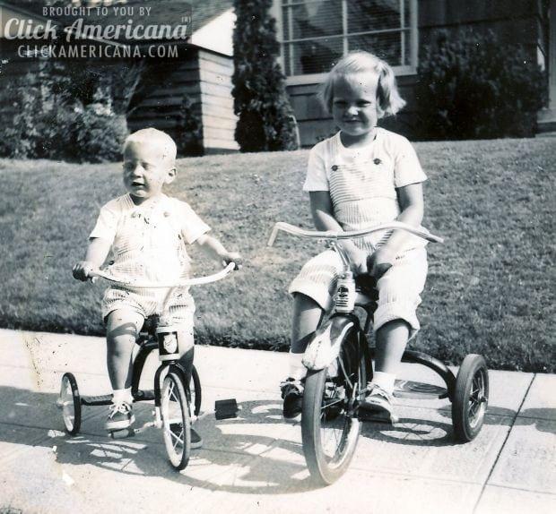 nick-vickie-trikes-riding-1940s