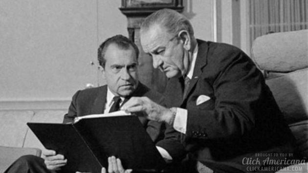 LBJ on civil disorder report & Nixon raps investigators (1968)