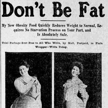 Don Brown Chevrolet >> Don't be fat - weight loss ad (1905) - Click Americana