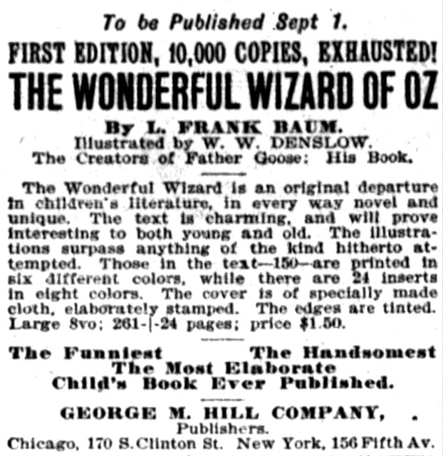 onderful Wizard of Oz first edition - New York Times - August 25 1900