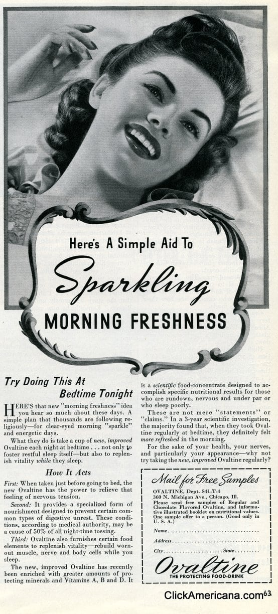 Want sparkling morning freshness? Try Ovaltine (1941)
